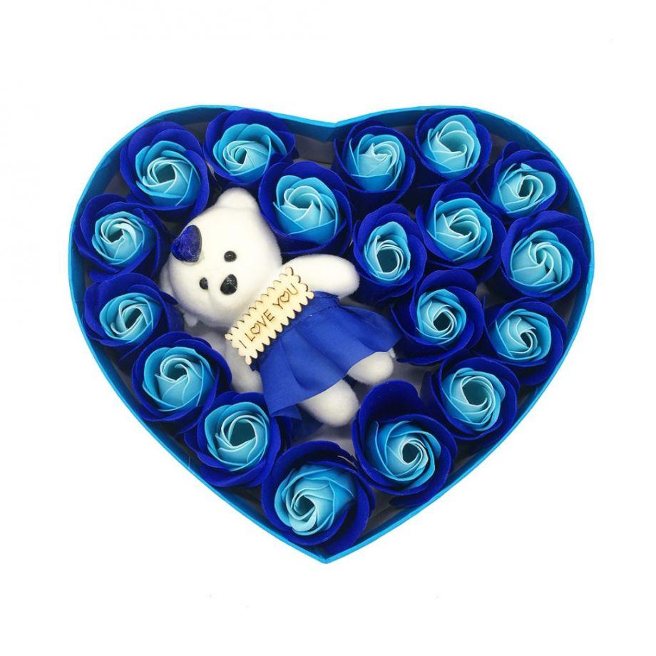 Подарочный набор Мыльные розы Love с мишкой, 18 шт, цвет Голубой