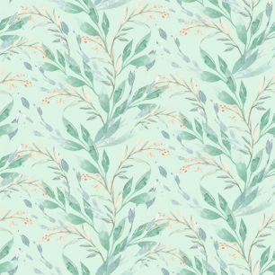 Лимитированная коллекция Арт-ткани Хлопок Сатин Веточки на зелёном