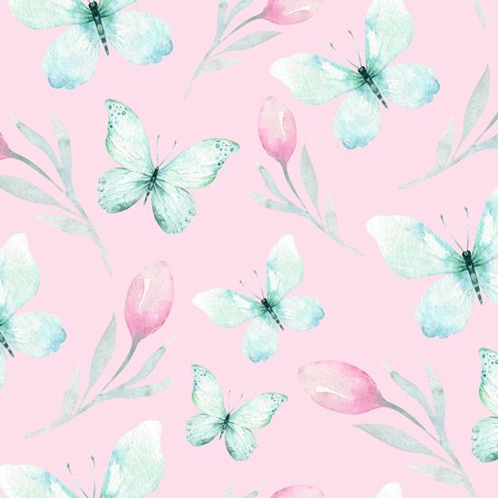 Хлопок Сатин Мятные бабочки на персиковом 50х40