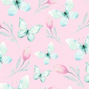 Хлопок Сатин Мятные бабочки на персиковом