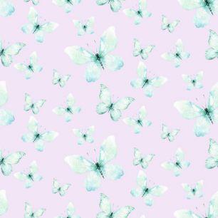Лимитированная коллекция Арт-ткани Хлопок Сатин Мятные бабочки