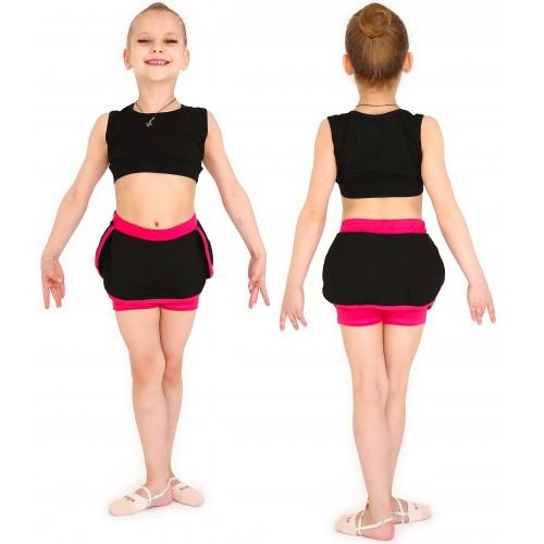 Юбка-шорты гимнаст. с окантовкой INDIGO SM-351 черная-фуксия