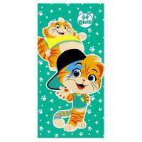 """Детское махровое полотенце """"Мальчики. 44 котёнка"""" рис.1142-03 зеленое"""