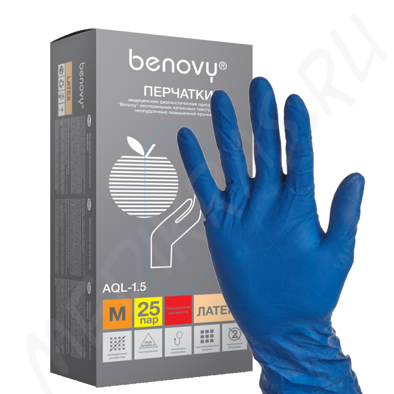 Перчатки BENOVY Latex High Risk латексные повышенной прочности L синие