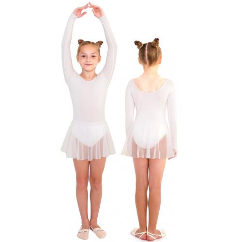 Купальник гимнастический с юбкой сетка INDIGO SM-190 белый