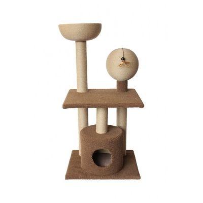 Игровой комплекс-когтеточка Ferribiella Tiragraffi Big Ball Гнездовье котов трехэтажный для кошек 61х51х124см