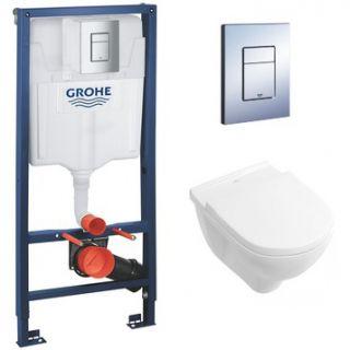 Комплект инсталляция и унитаз безободковый подвесной GROHE Rapid SL VILLEROY&BOCH 38772001-5660HR01