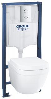 Комплект инсталляция и унитаз подвесной безободковый GROHE Solido Compact