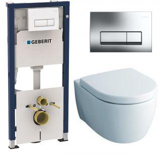 Комплект инсталляция и унитаз безободковый подвесной GEBERIT Duofix Icon 458.128.21.1-20406