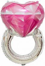 Шар (32''/81 см) Фигура, Кольцо с бриллиантом, Сердце, Розовый, 1 шт.