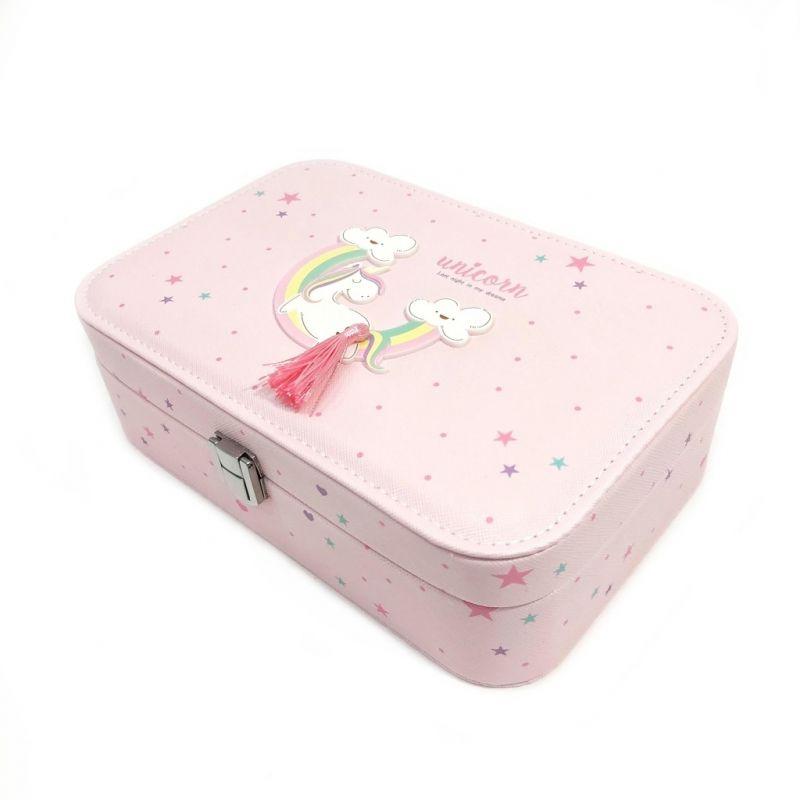 Шкатулка для украшений Единорог 22х15х7 см (цвет розовый)