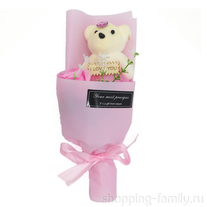Мыльная роза с мишкой в упаковке, цвет Розовый