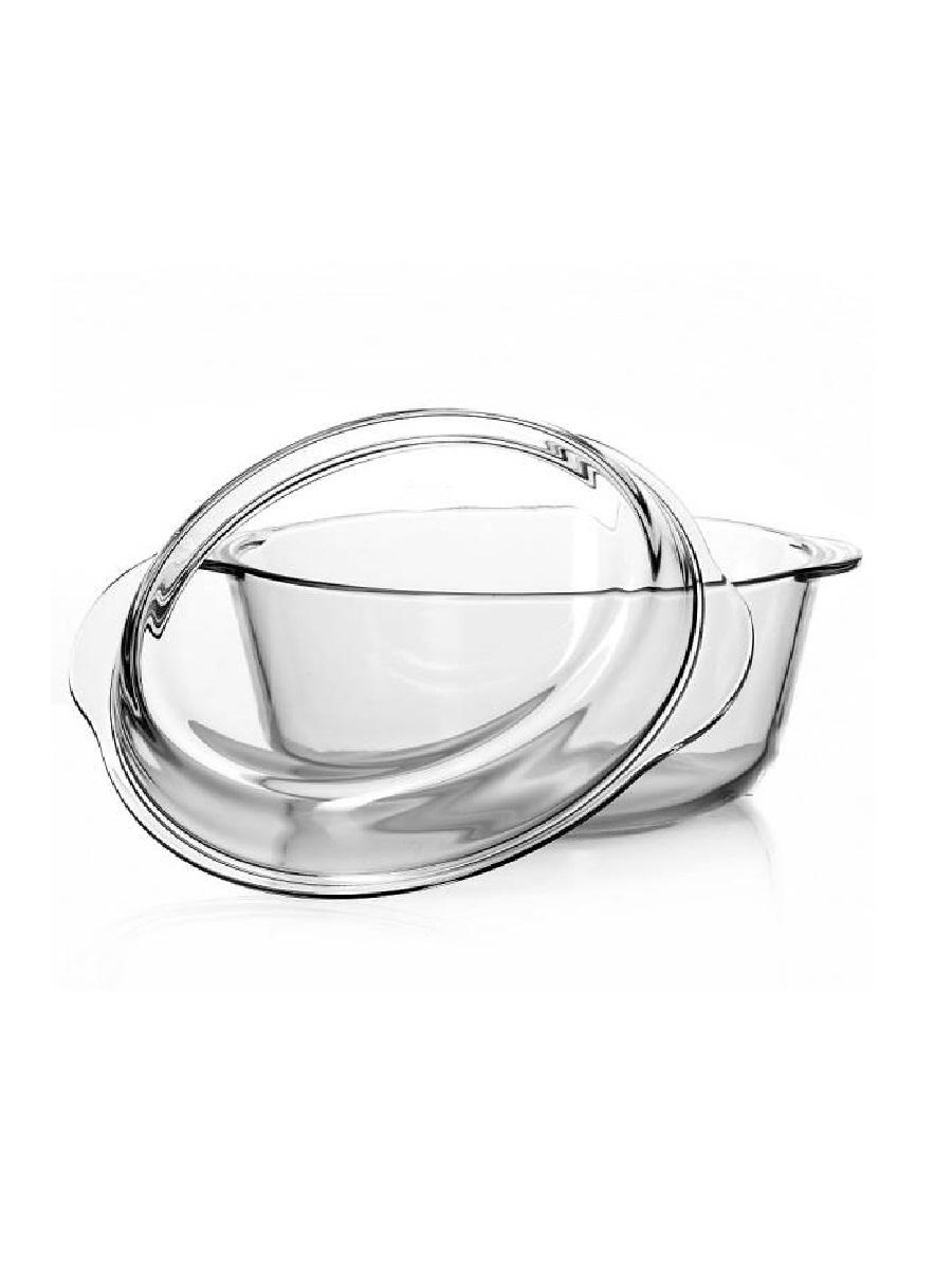 Кастрюля жаропрочная стеклянная 2 литра с крышкой Borcam 59003 круглая форма с крышкой 18 см