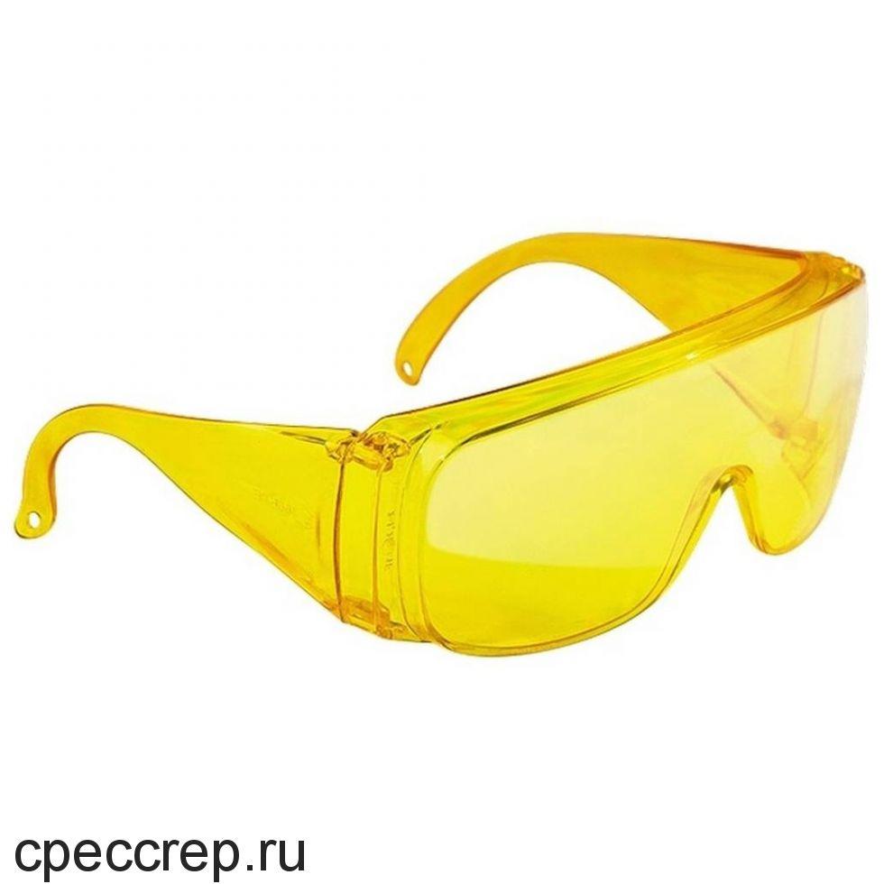 СИБРТЕХ GL-01021 Очки защитные открытого типа, желтые, ударопрочный поликарбонат.