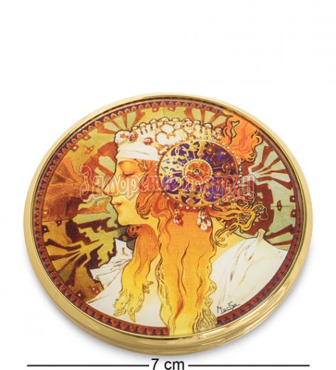 """pr-M22MU Зеркальце """"Византийские головы: Блондинка"""" Альфонс Муха (Museum.Parastone)"""