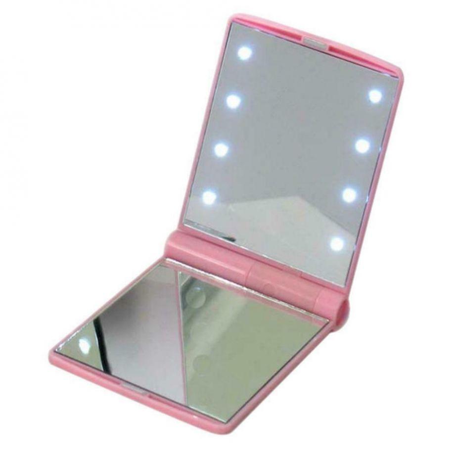 Косметическое карманное зеркало с подсветкой из светодиодов Led Light Mirror, цвет Розовый