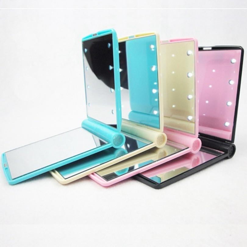 Косметическое карманное зеркало с подсветкой из светодиодов Led Light Mirror, цвет Голубой