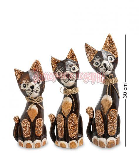 """99-087 Фигурка """"Кошка"""" н-р из трех 30,25,20 см (албезия, о.Бали)"""