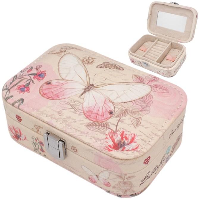 Шкатулка для украшений Бабочка 15х11х5 см (цвет розовый)