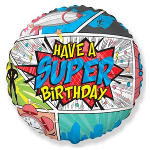 Супергеройский С Днем Рождения шар фольгированный с гелием