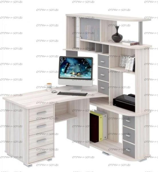 Стол компьютерный №2 Аквилон, цвета любые (130х120х192)