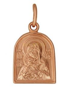 """Миниатюрная позолоченная подвеска """"Богородица"""" (арт. 788093)"""