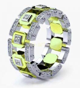 Позолоченное комбинированное кольцо с цирконами (арт. 900615)