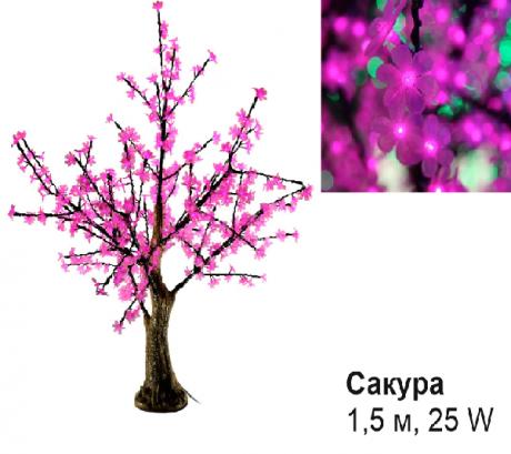 Светодиодное Led деревце «Сакура», розовое, 1,5 м., 25 W