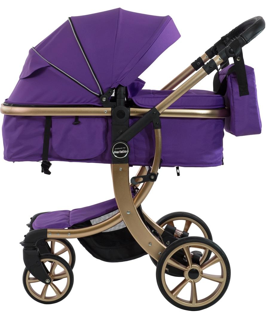 Коляска трансформер Aimile Gold (колёса PU, капюшон XXL, утеплённый конверт) Фиолетовый, золотой диск / Purple, gold disk, FTG-1