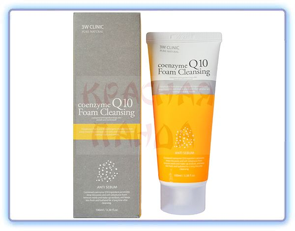 Очищающая пенка коэнзим Q10 3W Clinic Foam Cleansing Coenzyme Q10