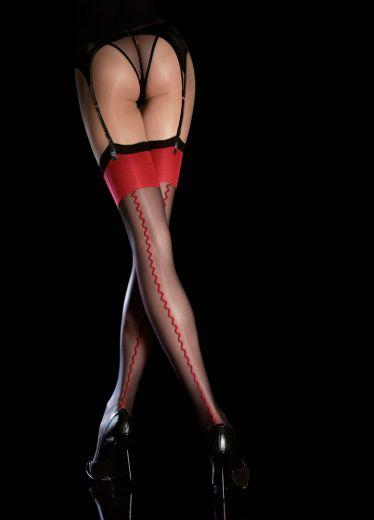 Чулки Fiore 4035 черные с красным под пояс
