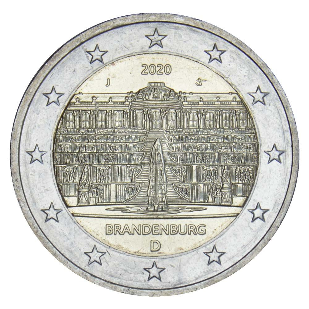 2 евро 2020 Германия Бранденбург (дворец Сан-Суси в Потсдаме) J