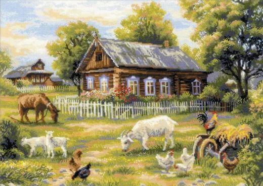 Набор для вышивания крестом Деревенский полдень №1501 фирма Риолис