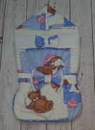"""Конверт с треугольным верхом (комплект) """"Спящий мишка/белый"""" деми"""
