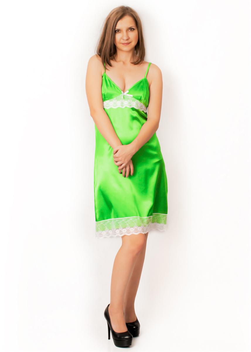 Атласная сорочка - Малина (ярко-зеленый)