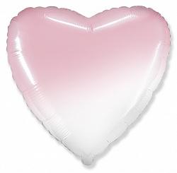 Шар (32''/81 см) Сердце, Розовый, Градиент, 1 шт., Flexmetal