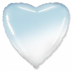 Шар (32''/81 см) Сердце, Голубой, Градиент, 1 шт., Flexmetal