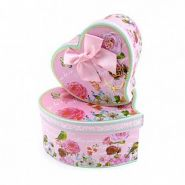 """Набор подарочных коробок 3 в 1 """"Винтажные цветы"""" Розовый с бантом"""