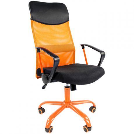 Кресло руководителя Chairman 610 Cmet, экокожа черная/ткань черная/сетка оранжевая, механизм качания