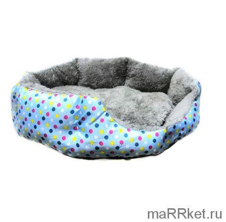 Круглый меховой лежак для кошек и собак Горошек (голубой)