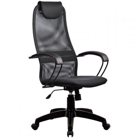 """Кресло руководителя Метта """"Business"""" BР-8 PL, ткань-сетка серая №21, механизм качания"""