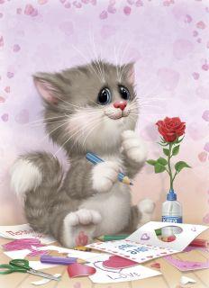 Почтовая открытка Котик с открытками