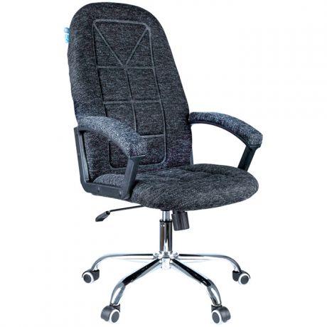 """Кресло руководителя Helmi HL-E89 """"Blocks"""" LUX, ткань SY черно-cерая, мягкий подлокотник, хром"""