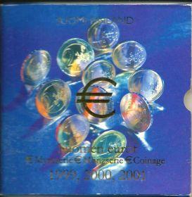 Официальный набор евро-монет Финляндия 1999-2001 BU (3 x 8 монет)