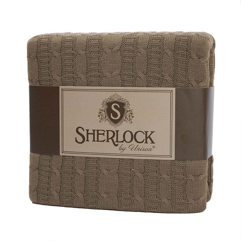 Плед вязанный Sherlock, кофейный