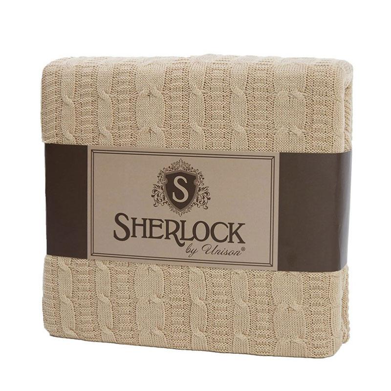 Плед вязанный Sherlock, льняной