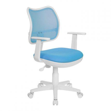 Кресло детское Бюрократ CH-W797, PL, ткань голубая/сетка, механизм качания, пластик белый