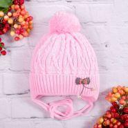 РБ Шапка вязаная для девочки, с бубоном, на завязках, нашивка с бусинками, светло-розовый