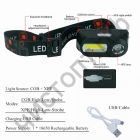 Фонарь налоб. Следопыт ST-FLG07 2 LED: COB 180lm / XPE 100lm (аккум. 18650)