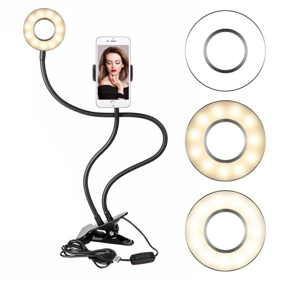 Светодиодная кольцевая лампа с держателем смартфона на прищепке Professional Live Stream